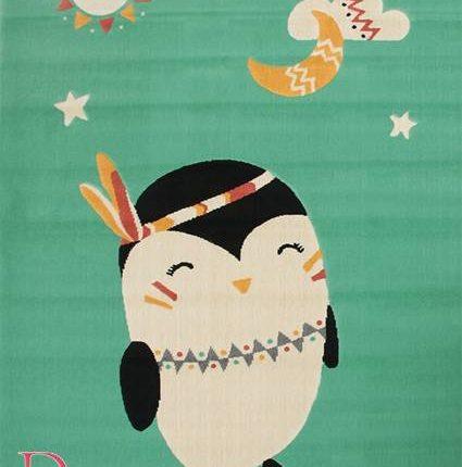 Dywan Dziecięcy Miętowy Pingwin